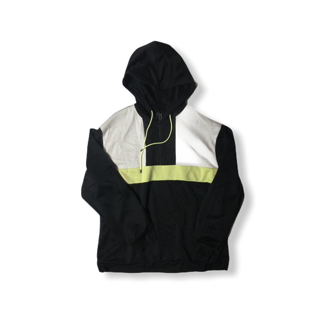 Men's Black with White and Yellow Color Blocks Athletic Hoodie - Crabapple