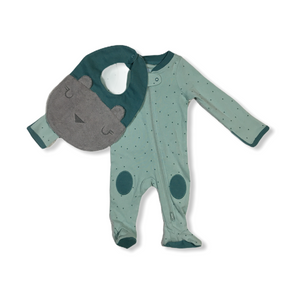 Baby Teal Sleepy Bear Bib and Layette - 2 Piece - Crabapple