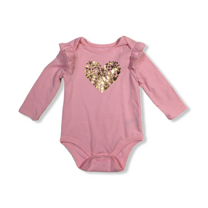 Baby Pink with Gold Hearts and Ruffle Cap Sleeves Onesie - Crabapple