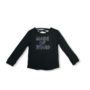"Girls' ""Made of Stars"" Black Long Sleeve Crew with Criss Cross Back - Crabapple"