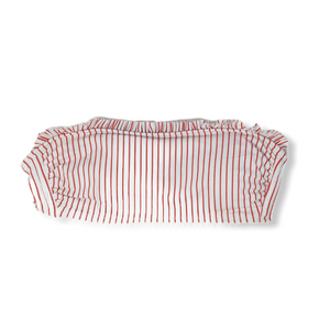 Women's White with Red Stripes and Ruffle Top Swimsuit Top - Crabapple