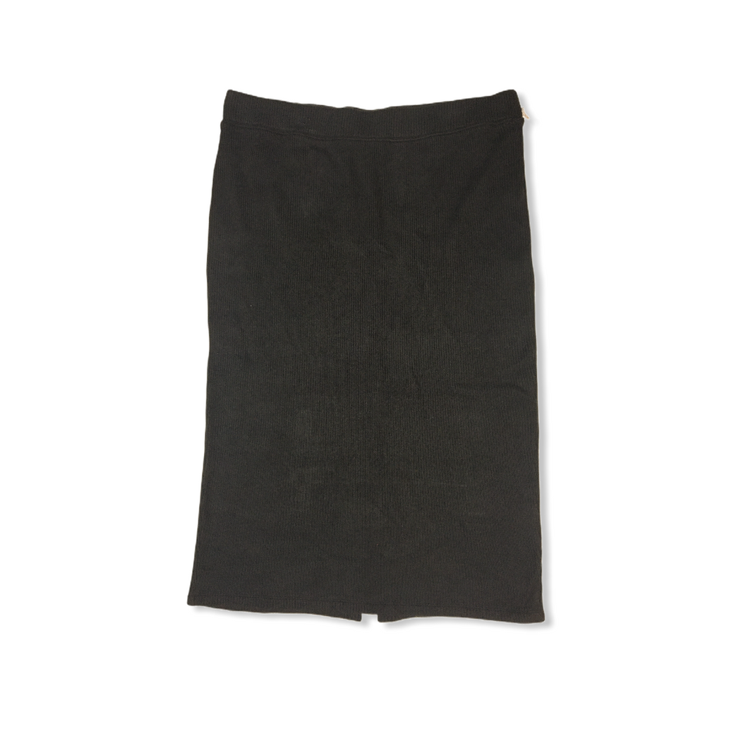 Women's Black Cotton Blend Long Pencil Skirt - Crabapple