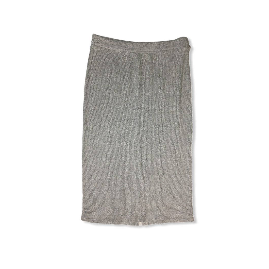 Women's Grey Cotton Blend Long Pencil Skirt - Crabapple