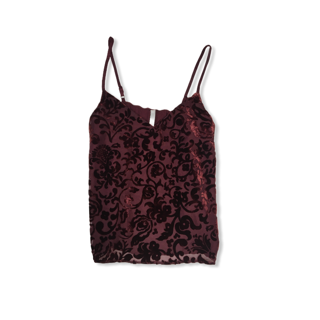Women's Burgundy Tank with Velvet Detail - Crabapple
