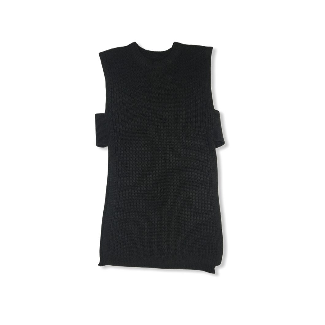 Women's Black Knit Sleeveless Slit Sweater - Crabapple