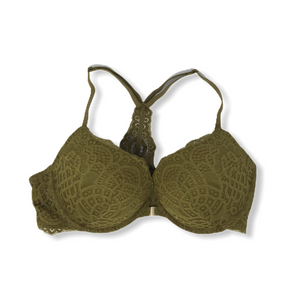 Women's Olive Underwire Bra with Lace Detail - Crabapple