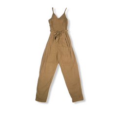 Women's mustard colored jumpsuit with tapered legs and a tie