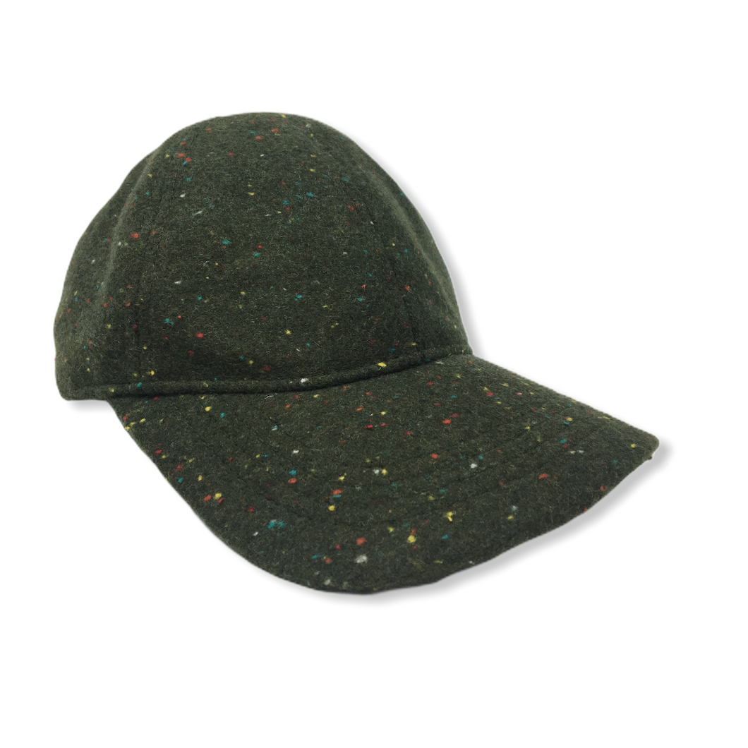 Women's Olive Wool Blend Hat with Multi-Colored Flecks - Crabapple