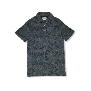 Men's Subdued Blue Geometric Design Polo - Crabapple