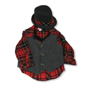 Baby Red Plaid Button Down with Vest and Matching Fedora - Crabapple