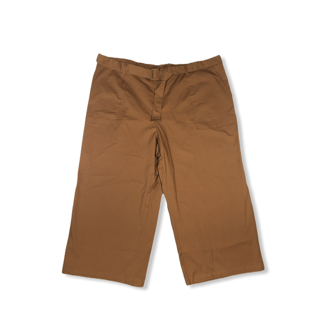 Women's Caramel Brown Wide Leg Crop Pants - Crabapple