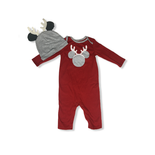 Baby Red Reindeer Mickey Romper with Matching Hat - Crabapple