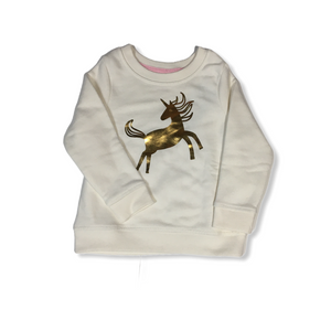 Baby Cream with Gold Unicorn Sweatshirt - Crabapple