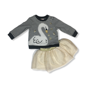 Baby Black and White Striped Swan with Gold Tutu - Crabapple