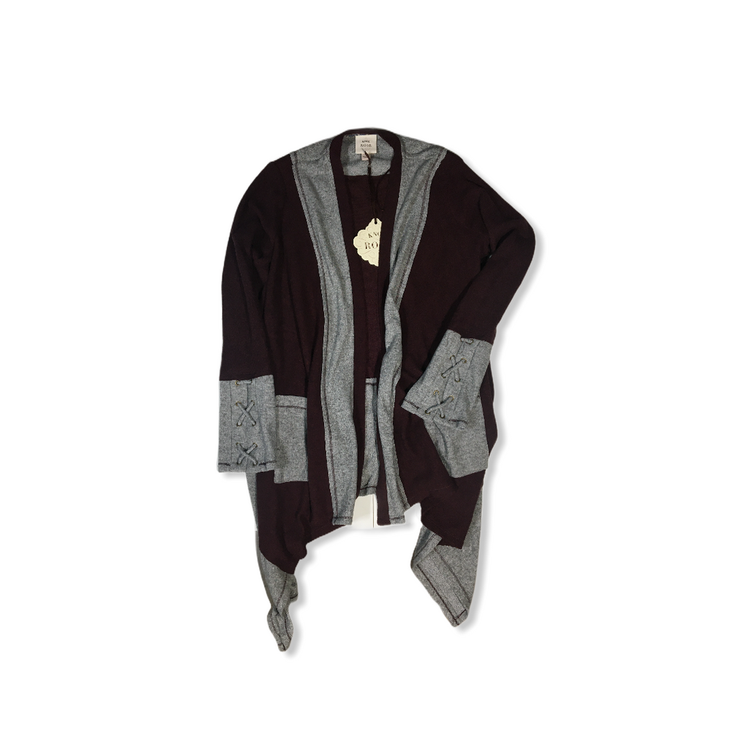 Women's Auburn and Grey Cardigan with Cross-Tied Sleeves - Crabapple