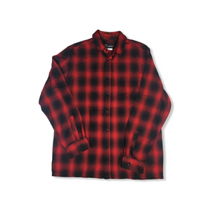 Men's Lively Red with Black Flannel Button Down - Crabapple
