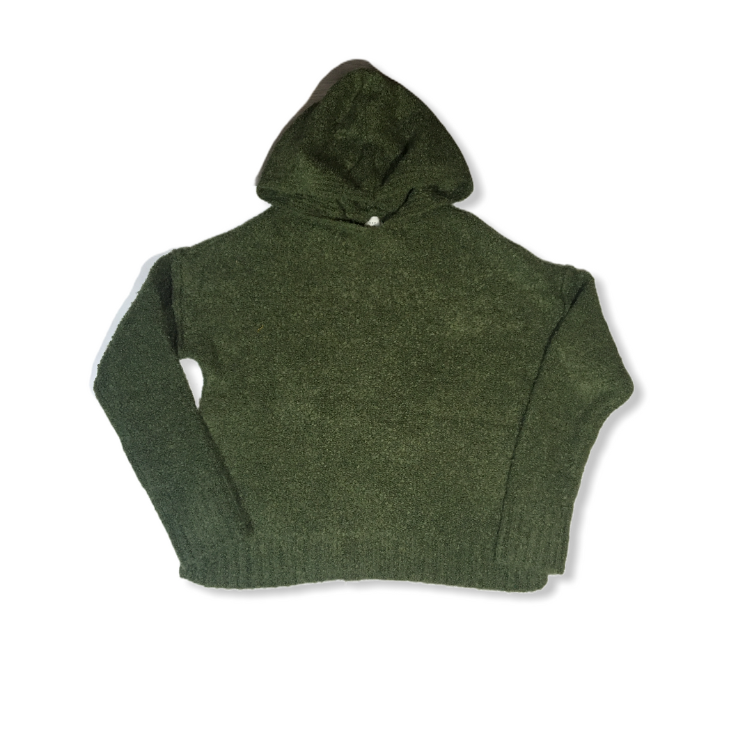Women's Olive Heather Pilly Sweater with Hood - Crabapple