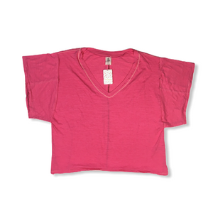 Women's Hot Pink Oversized V-Neck Tee - Crabapple