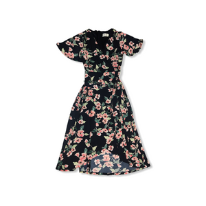 Women's Navy with Pretty Poppies Faux Wrap Dress with Tie - Crabapple