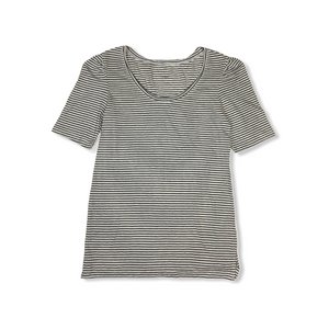 Women's Black and White Striped Scoop Neck Tee - Crabapple