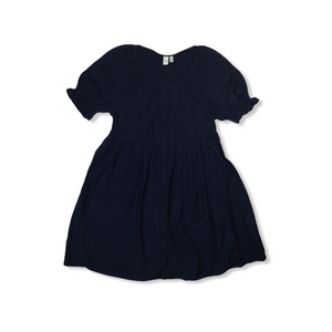 Women's Ruffled Sleeve Button Down Navy Peacoat Dress*** - Crabapple