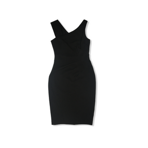 Women's Little Black Asymmetrical Dress with Ruching and Gold Zipper Down Back - Crabapple
