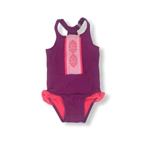 Baby Purple One Pice Swimsuit with Convenient Snaps for Changes - Crabapple