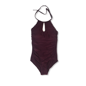 Women's Plum High Neck One Piece with Scalloped Edging - Crabapple