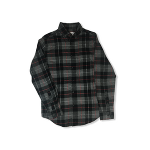 Men's Charcoal with Black and Red Flannel Button Down - Standard Fit - Crabapple