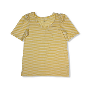 Women's Yellow and White Stripe Scoop Neck Tee - Crabapple
