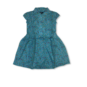 Toddler Blue with Floral Print A-Line Dress - Crabapple