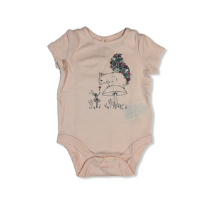 Baby Light Pink Squirrel and Fairy Bodysuit with Keyhole Button Closure in Back - Crabapple