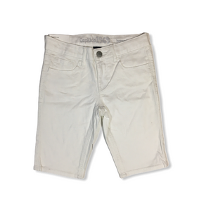 Girls' White Bermuda Denim Shorts with Adjustable Waist - Crabapple
