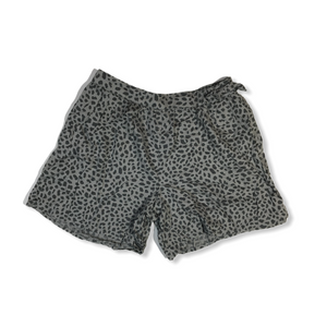 Girls' Grey with Black Animal Print Shorts with Accent Bow - Crabapple