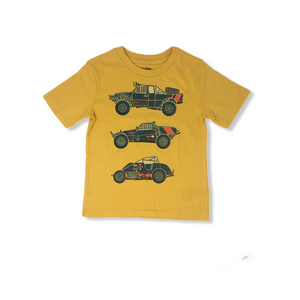 Toddler Sunflower Yellow Cars and Trucks Graphic Tee - Crabapple