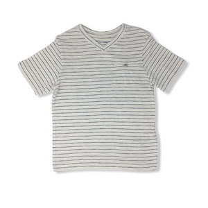 Toddler Off-White with Black Stripes V-Neck Tee with Pocket - Crabapple