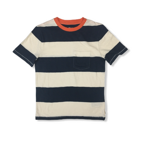 Boys' Navy and White Color Block Striped Tee - Crabapple