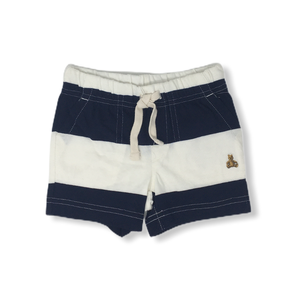 Baby Navy and White Color Block Striped Shorts with Brannan Bear - Crabapple