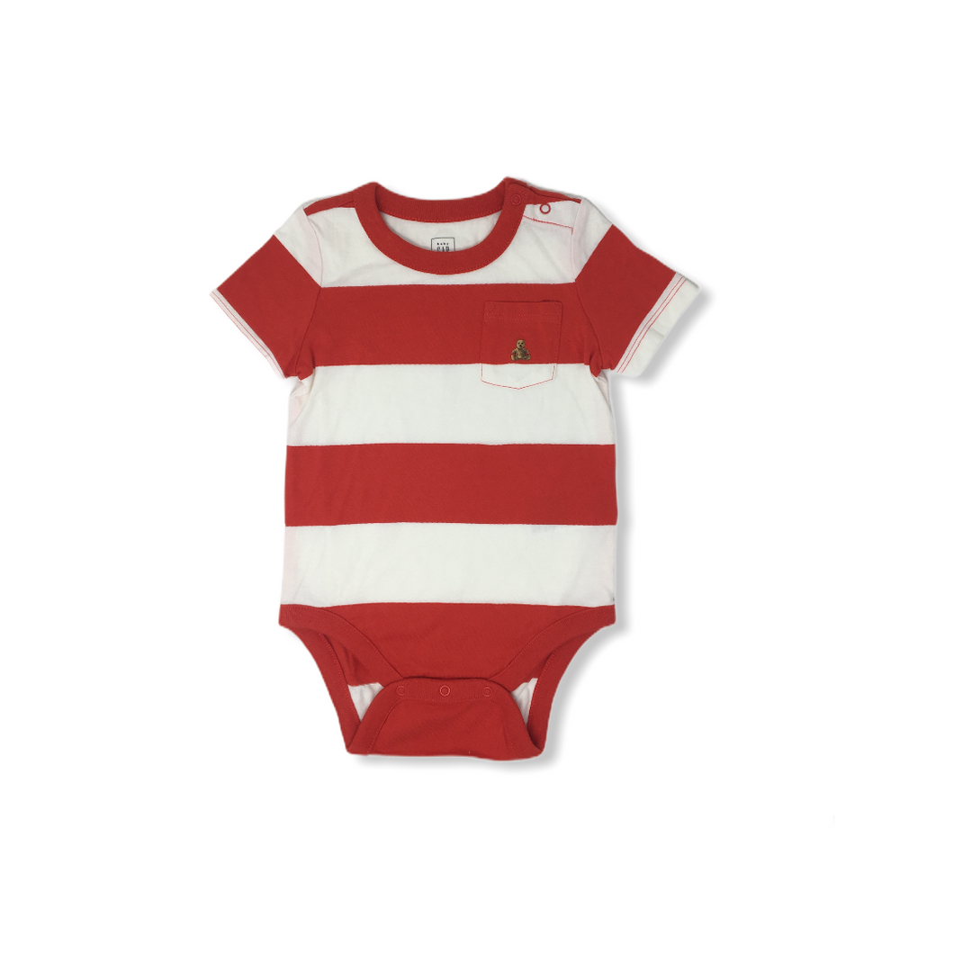 Baby Red and White Color Block Striped Bodysuit - Crabapple
