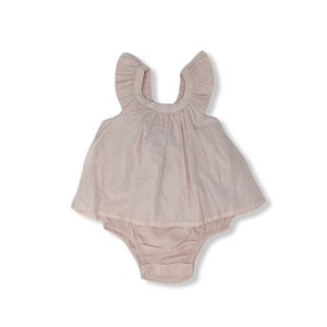 Baby Blush with Silver Pinstripes Bodysuit Flutter Top - Crabapple