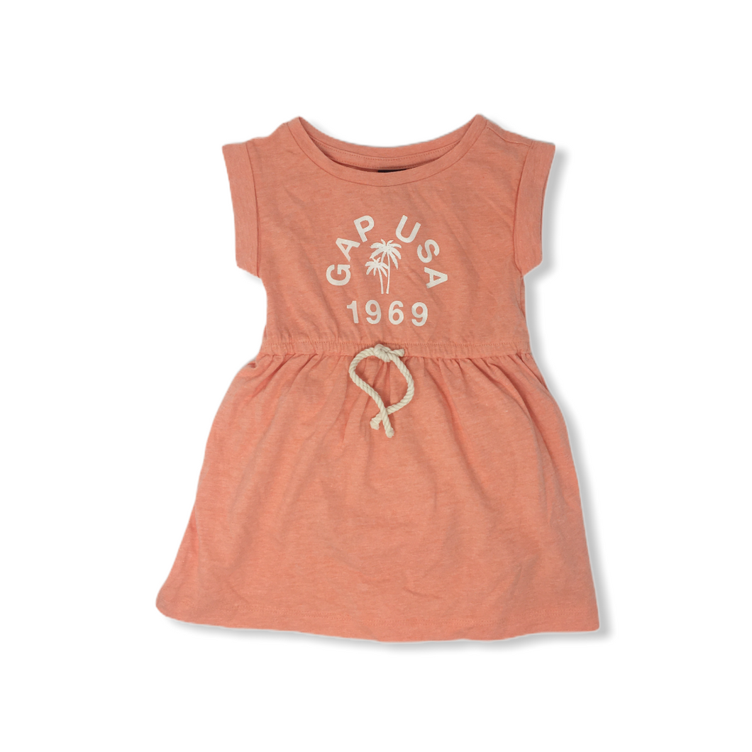 Toddler Orange Coral Jersey Dress with Tie - Crabapple