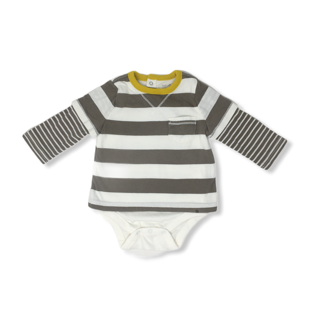 Baby White and Brown Striped 2-Layered Shirt Bodysuit - Crabapple