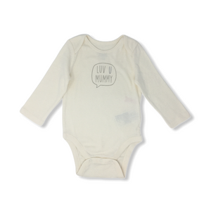 "Baby Cream ""Luv U Mummy"" Bodysuit - Crabapple"