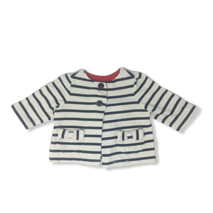 Baby Striped Button Down French Terry with Bows on Pockets - Crabapple