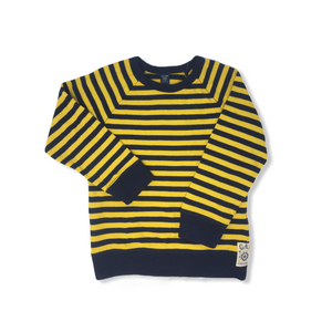 Toddler Navy and Yellow Striped Sweater - Crabapple