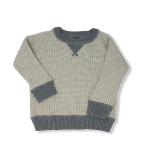 Toddler Cream and Grey Waffle Sweater - Crabapple