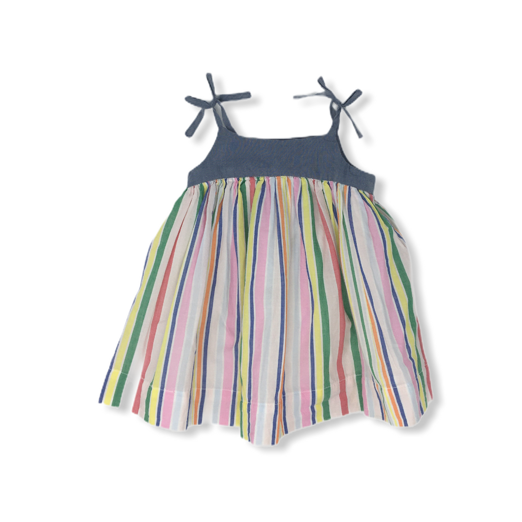 Baby Dress with Stripes - Crabapple
