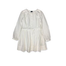 Load image into Gallery viewer, Girls' White Sheer Pinstripe Button Down Shirt Dress with Lining - Crabapple