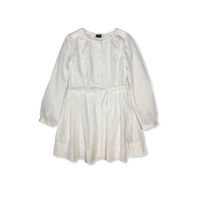Girls' White Sheer Pinstripe Button Down Shirt Dress with Lining - Crabapple