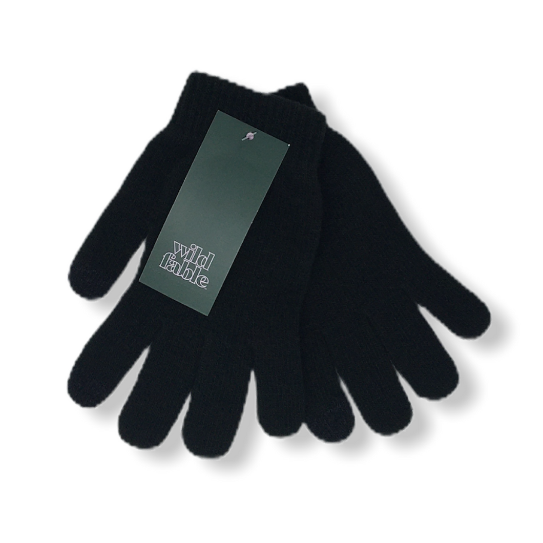 Women's Black Touch Screen Compatible Knit Gloves - Crabapple